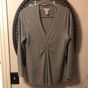 Sundance Cashmere Sweater Gray Petite Medium